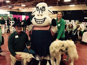 "Farm Bureau President Sam Dolcini, Regina Pozzi, ""Carl"", Clo the Cow, baby lamb"